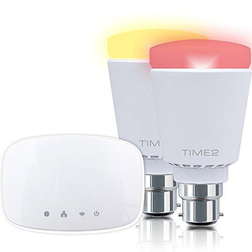 Time2® WiFi Home Lighting Kit - 2 Smart Wifi Multi-Coloured Dimmable Hue LED Bulbs Smart Home Starter Kit (2 X Bayonet Fit B22 WiFi 9 Watt LED Bulbs, 1 Bridge)