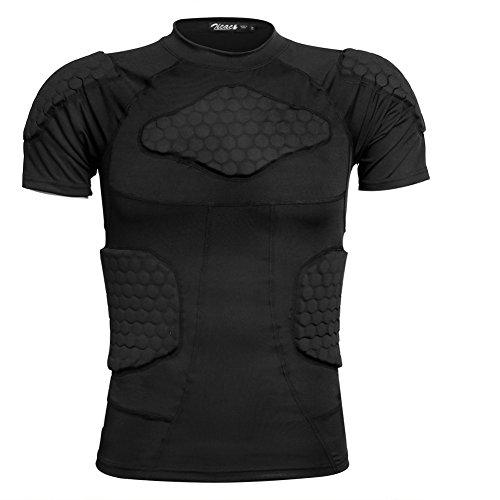 Zicac Sports Gepolsterte Kompression Tops Kurzarm Shock Guard Schutzhemd Schulter Rippe Brustschutz für Outdoor Fußball Basketball Paintball Rugby (Rippe Stricken Weste)