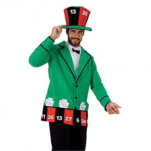 Mortino Kostüm Casino Mann Jacke Zylinder Spieler Fasching Kartenspieler Roulett (L) (Mann Märchen Kostüm)