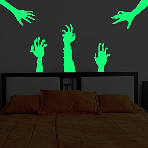 Hände Halloween deko leuchtaufkleber wandsticker fluoreszierend und im Dunkeln Leuchtend für Kinderzimmer und Babyzimmer Schlafzimmer, Wände & Decken