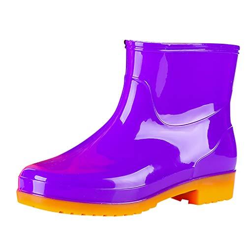 HDUFGJ Damen Stiefeletten Warm Regenstiefel Schlupfstiefel Gummistiefel kurz Boots Chelsea Boots Schneestiefel gefüttert wasserdicht Hoher Absatz Outdoor-Schuhe Chelsea boots38 EU(Lila)