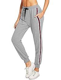 a443c870fefc88 Fooyou Damen Hosen Casual Streifen Sweathose Elasticher Bund Jogginghose  Sporthose mit Taschen