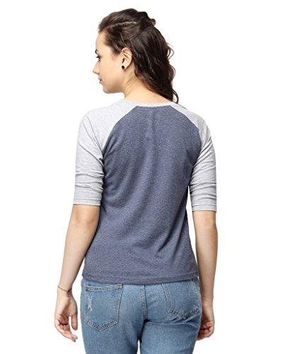 Campus-Sutra-Women-Round-Neck-Quarter-Sleeve-T-Shirts