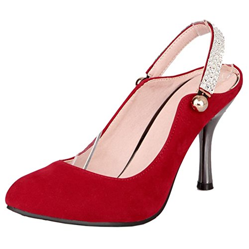 RAZAMAZA Femmes Mode Aiguille Mules Escarpins red