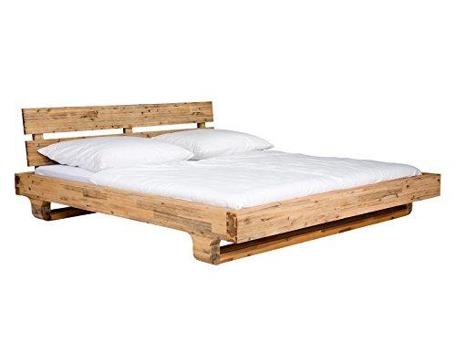 massivum Doppel-Bett Madras 180x200 cm aus massiven Akazien-Holz in natur-farbener lackierter Obefläche mit Kufen-Füßen und Kopfteil -