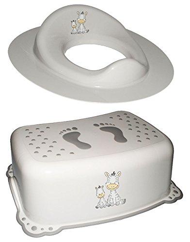 Unbekannt 2 TLG. Set: Toilettensitz / Toilettenaufsatz / Sitzverkleinerer & Anti RUTSCH - Trittschemel / Tritthocker / Kindersitz -  Zebra - weiß  - Kinderschemel & K.. (Zebra Kindersitz)