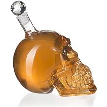 VENKON - Caraffa di Vetro a Forma di Teschio di Cristallo Cranio Bottiglia - 500 ml - Trasparente - per Whiskey, Cognac, Liquori, Vodka, Grappa, Cocktail, ecc o bevande non alcoliche