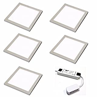 5 X SQUARE KITCHEN LIGHT SLIM FLAT PANEL UNDER CABINET CUPBOARD COOL WHITE LED