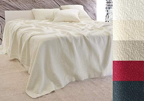 Baumwolldecken Wohnen & Accessoires Tagesdecke Estoril mit Paisley Muster, Bettüberwurf in 5 Farben und 3 Größen (Tagesdecke in Elfenbein, 260x300cm)