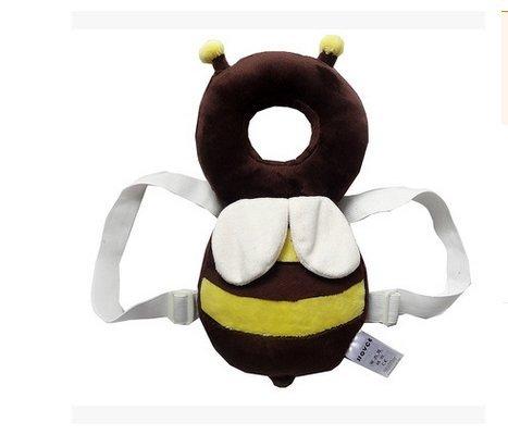 Newin Star Cojín de Protección cabeza,Cojín de bebé,Protección Almohada Reposacabezas ajustable para Proteger la cabeza cuello y columna andadores (abeja marrón/Tomaño L)