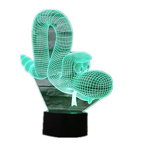 Wangzj Lámpara de ilusión 3d / Luz de noche Led/Usb Powered / 7 colores Interruptor táctil intermitente/Regalo de Navidad para niños/Perro de globo