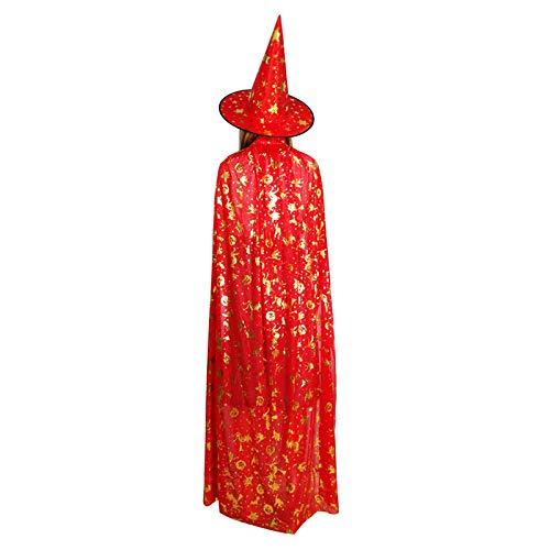 LL Halloween-Umhang Halloween Umhang Kind Erwachsene Maskerade Kostüm Artikel Hexe Bronzing Cape Umhang (Farbe : Red, größe : 90 * 120cm)