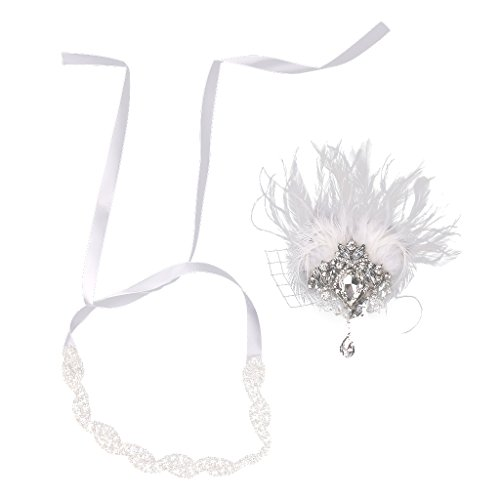 Sharplace Stirnband Charleston Kostüm Schmuck - Weiß (Pfauenfeder Kostüm Weiß)