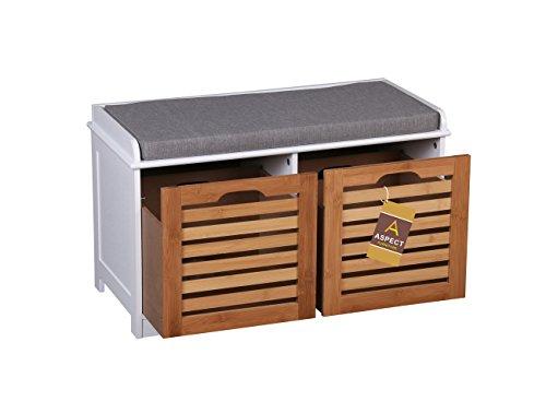 Panca Contenitore Bianca : Aspect contenitore con panca kendal in legno a 2 posti con