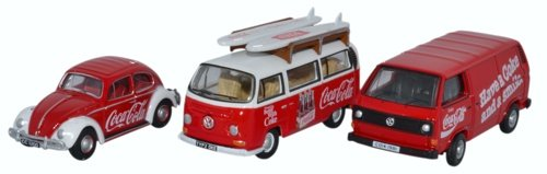 VW 3er-Set, Käfer, T2 Bus, T3 Kastenwagen, Coca-Cola, 0, Modellauto, Fertigmodell, Oxford 1:76