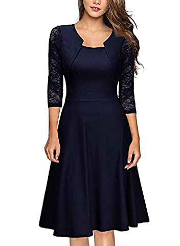 YaoDgFa Elegant Damen Kleider Spitze Knielang Festlich Abendkleid Cocktailkleid Partykleid Rockabilly Kleid Kurzarm Retro Sommer