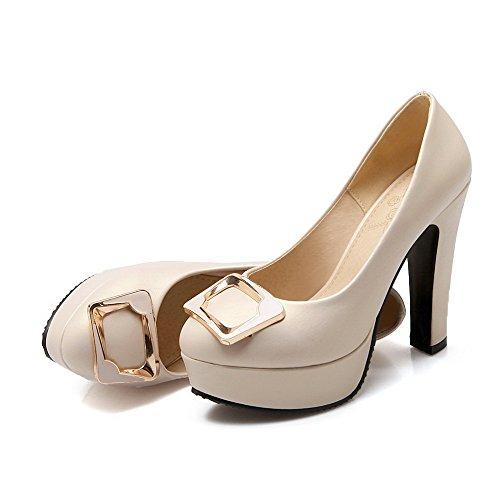VogueZone009 Damen Rein Weiches Material Hoher Absatz Ziehen auf Pumps Schuhe, Silber, 37