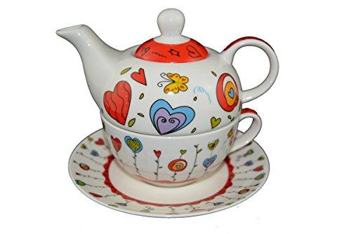 Tea for one Set Teekanne Porzellan mit Tasse und Untertasse in Geschenkbox