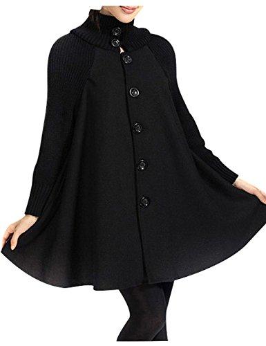 Youlee Mujeres Gran Dobladillo Abrigo de Lana Ropa de Maternidad Negro Velvet...