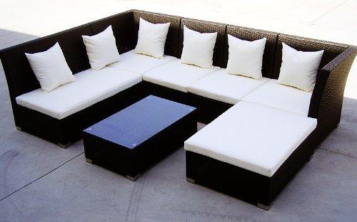 Baidani Gartenmöbel-Sets 10d00004.00001 Designer Lounge-Garnitur Thunder, 4-er Sofa, 2er Sofa, 1 Hocker, Couch-Tisch mit Glasplatte, schwarz - 2