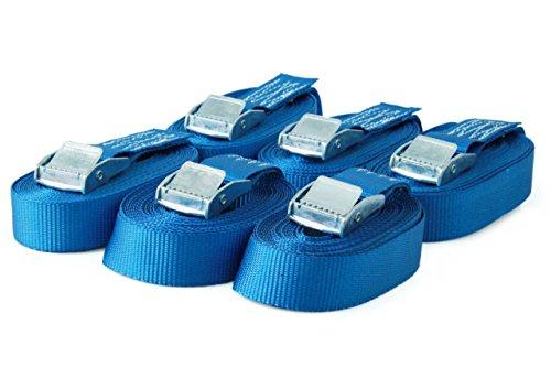 6 Spanngurte Zurrgurte mit Klemmschloss Klemmschlossgurt Befestigungsgurt Riemen, belastbar bis 250 kg, nach DIN EN 12195-2, Länge 5m Breite 25mm, einteilig, blau
