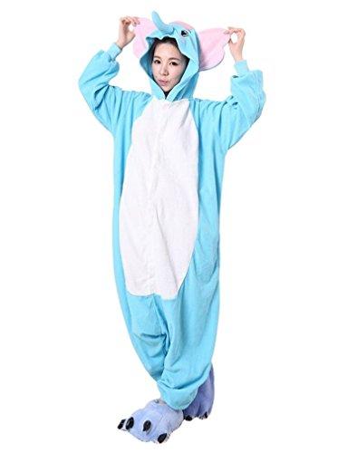 iKneu Tier Onesie Jumpsuits Pyjama Oberall Hausanzug Kigurum Fastnachtskostuem Schlafanzug Elefant