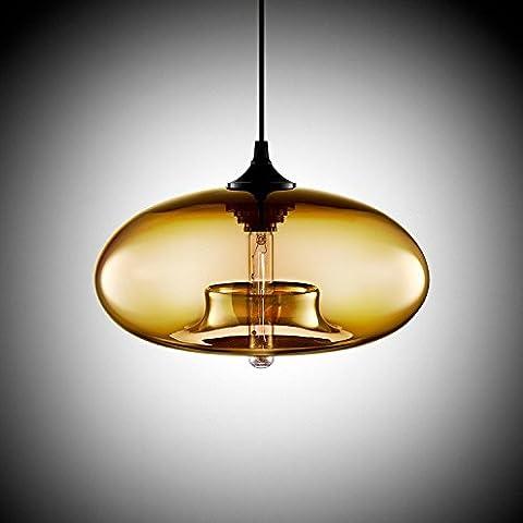 Lustre en verre rond lustre personnalité créatrice couleur lustre moderne restaurant bar,Nuances d'ambre
