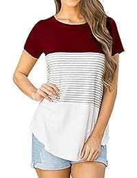 Landfox Camiseta de Mujer de Manga Corta con Tres Rayas EN Color Block Blusa Casual,Sport Graphic Tee - Camiseta Para Mujer