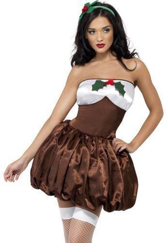Erwachsene Damen Sexy Frecher Christmas Pudding Fun Fancy Kleid Kostüm Outfit UK (Pudding Kostüm Christmas)