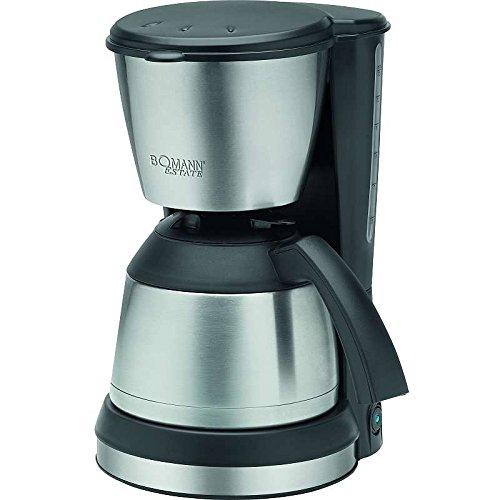 Edelstahl Kaffeemaschine mit ca. 1,2 Liter Thermokanne Kaffeebereiter Isolierkanne Filtermaschine Filterkaffee (sparsame 800 Watt + schwarz/silber)