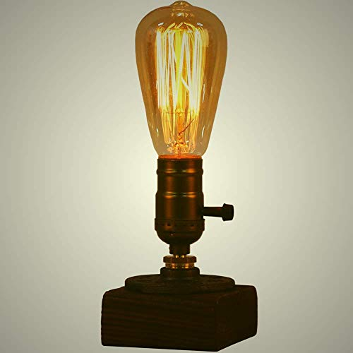 OYGROUP 2 Pack Holz Nachtlicht Tischlampe Vintage Schreibtisch Lampe E26 Edison Birne Holz Retro Industrial Dimmable Nightlight für Schlafzimmer Wohnzimmer Home Art Display Cafe Studio Antique Décor