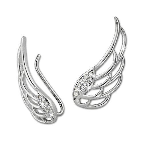 SilberDream Damen Ohrringe Ear Cuff Flügel Zirkonia Ohrringe Ohrklemme 925 Silber GSO410W - 925 Ear-gel
