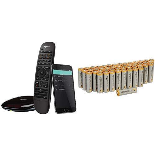 Logitech HarmonyCompanionAll-in-one-Fernbedienung  schwarz & AmazonBasics Performance Batterien Alkali, AA, 48 Stück (Design kann von Darstellung abweichen)