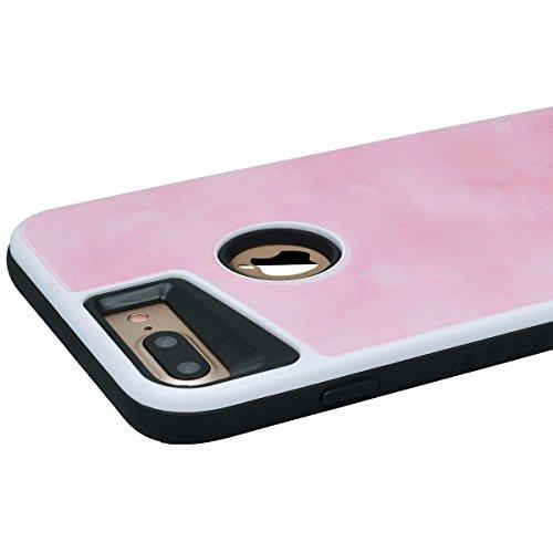 Yokata Cover per iPhone 7 Plus Custodia Case Durevole PC Backcover Protettiva Caso Tecnologia Epossidica con Marmo Design 2 in 1 Protezione Shell + Penna - Blu Navy Rosa Tenero
