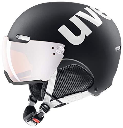 uvex Unisex- Erwachsene, hlmt 500 visor Skihelm, black-white mat, 55-59 cm