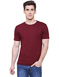 Wolkenqratzer Men's Round Neck Slim Fit Cotton Plain T-Shirt (Black_Parent)