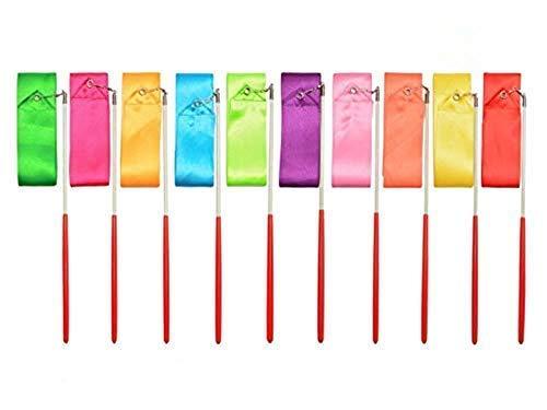 Regenbogen Band,Tanzbänder Streamer 10 Stück 2 Meter Rhythmische Gymnastik Ribbon für Kinder Künstlerisches Tanzen Baton Wirbelndes Training