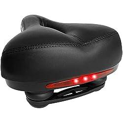 Jerbens Selle Vélo Confort - Mousse à Mémoire de Forme Ultra Confortable avec Amortisseurs Antichocs et LEDs Intégrées - pour VTT, VTC, Vélo de Route et Vélo d'Appartement - Homme, Femme et Enfant
