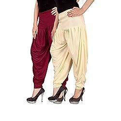 Navyataa Womens Lycra Dhoti Pants For Women Patiyala Dhoti Lycra Salwar Free Size (Pack Of 2) Maroon & Cream