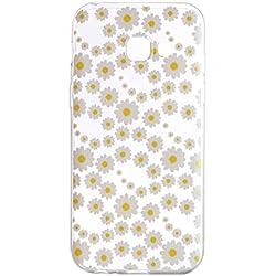 pinlu® Funda para Samsung Galaxy A5 (2017 Version, 5.2 Pulgada) Suave TPU Silicona Claro Transparente Case Ultra Delgada Anti Arañazos Duradero Espalda Cubierta Diseño - Margaritas