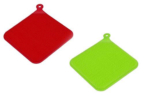 SpülWunder 3in1 Multifunktions-Spültuch Silikonschwamm eckig mit Saugnapf zum praktischen Aufbewahren - Doppelset rot & grün