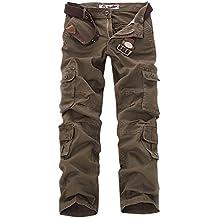 Panegy - Pantalones Militares Cargo Pantalón Largo de Algodón con Muchos Bolsillos Cargo Pants con Cinturón para Hombres Adultos Trabajo Viaje Ocio