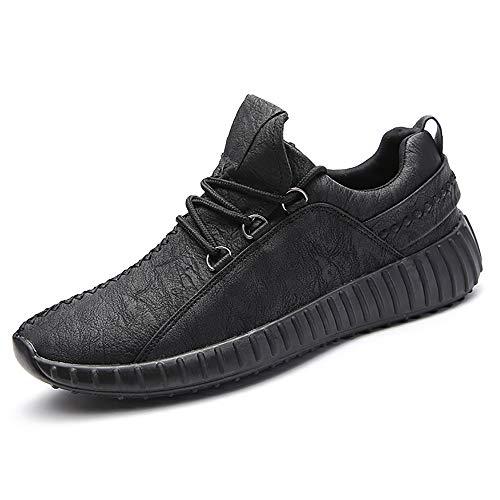 Sneaker para Correr Zapatos de Deportivas Jogging Cuero Veganos Zapatillas de Montaña Calzado para Caminar Transpirables Hombre Negro 41