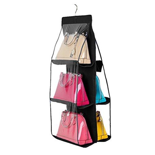 ULTNICE Organizador del armario del bolso que cuelga el guardarropa Sistema del bolso del almacenaje para el bolso (negro)