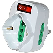 Tripla Rotante Presa Adattatore Elettrico 2 Spina Bipasso da 10