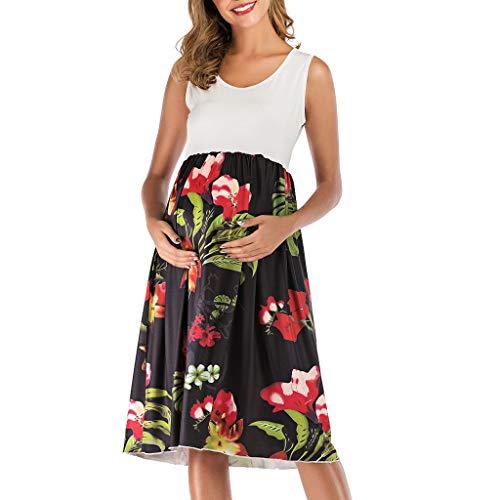 Pingtr - Damen Elagant Umstandskleid,Sommerkleider Umstandskleider - Schwangere O-Ausschnitt ärmellose gespleißte Blumendruck Weste Umstandskleid -