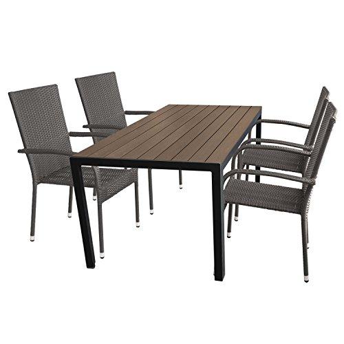 Multistore 2002 5tlg. Gartengarnitur Aluminium Gartentisch mit Polywood Tischplatte 150x90cm + 4 stapelbare Polyrattan Gartenstühle Gartenmöbel Set Sitzgarnitur Terrassenmöbel