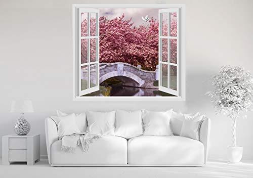 Adesivi murali finestra - giappone japan ciliegi fiore - 60x70 cm wall stickers