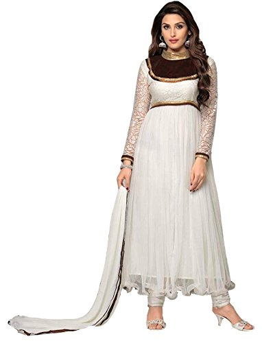 Clickedia Women's & Girl's Heavy Net & Brasso White Anarkali Suit With Dupatta  available at amazon for Rs.499