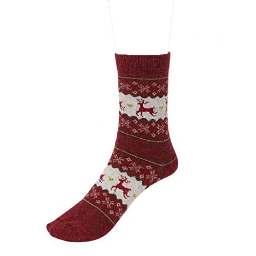 Sannysis Unisex Warm Winter Socken Weihnachten Deer Design Casual Stricken Wolle Socken (Rot)